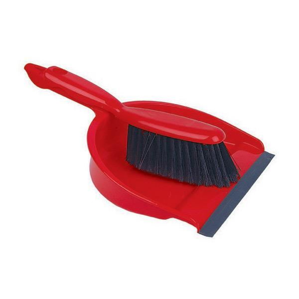 Plastic-Dustpan---Brush-Set---Red
